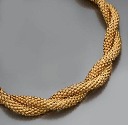 Collier torsadé en or 18k, à motif de boules d'or. (78,48g).