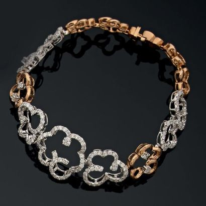 Bracelet souple et articulé en or blanc et...