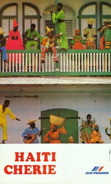 AIR FRANCE Haiti Chérie Affiche roulée en...