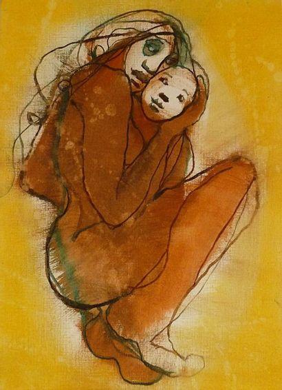 ORLICKI Sophie Mère à l'enfant Huile sur carton toilé / Signé au dos / 33 x 24 c...