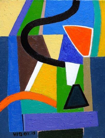 VIGOT Jacques Le linge à la fenêtre Huile sur toile / SBG / 35 x 27 cm