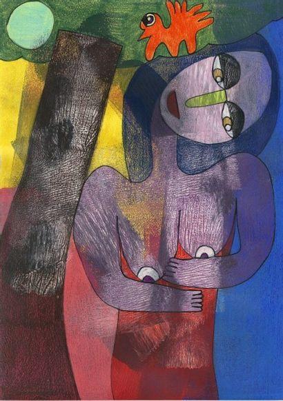 SILVIN Pierre Sans titre Technique mixte sur papier. Signé au dos / 29,5 x 21 cm