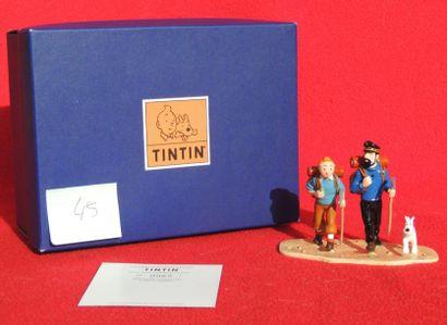 Figurine «Tintin au Tibet». Editions Moulinsart, figurines en plomb: Tintin, Haddock,...