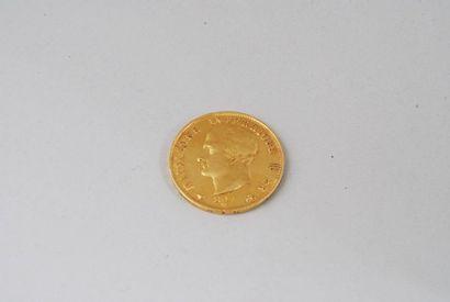 Pièce en or jaune de 40 lires italienne de 1814. Poids : 12,8g