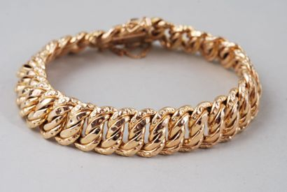 Bracelet « gourmette » en or jaune 18K, maillons...