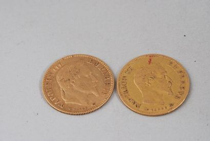 Pièce de 10 francs en or Napoléon tête laurée de 1865  Poids : 3 g  Diamètre : 19...