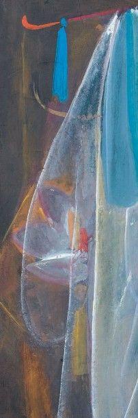 LIN FENGMIAN (1900-1991) Lanterne de lotus Encre et couleurs sur papier. Signé en...