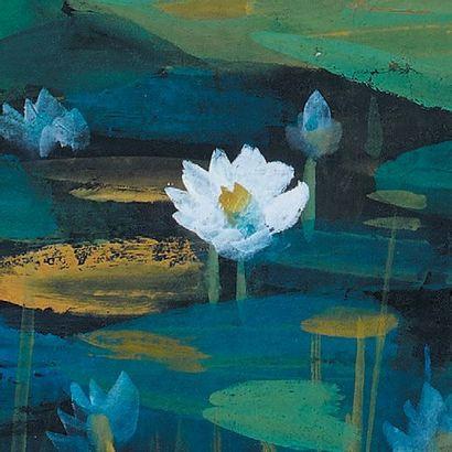 LIN FENGMIAN (1900-1991) Mare aux lotus Encre et couleurs sur papier.Signé en bas...