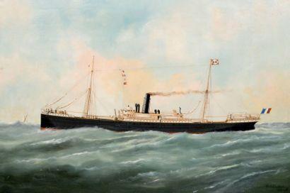 Edouard ADAM (1847-1929) Le Danube de la Ccie des Messageries maritimes Huile sur...