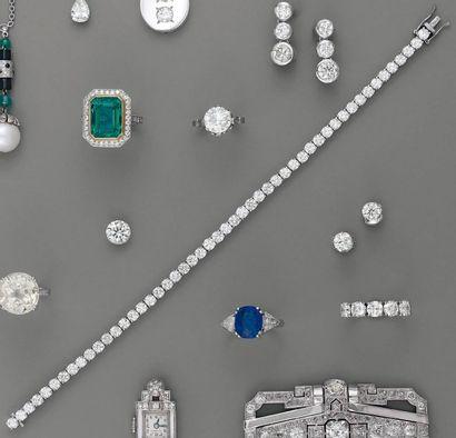 BRACELET ligne, rivière de diamants, en or...