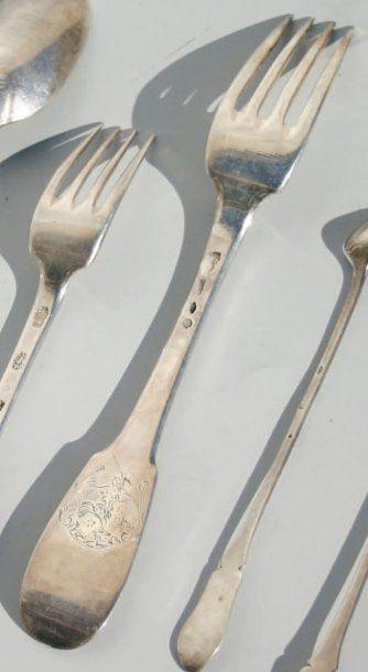 Fourchette à ragoût en argent modèle uniplat...