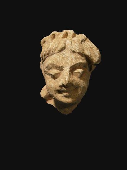 Tête de Bodhisattva. En stuc. H : 8 cm