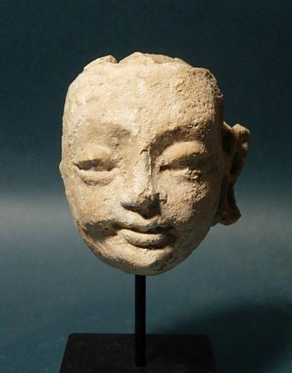 Tête fragmentaire de Bouddha. En stuc. Bamiyan...