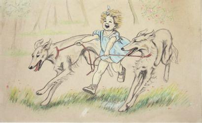 « Fillette et ses deux chiens ». Dessin à...