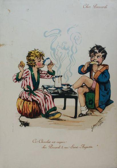 « Chez Poccardi ». Menu. Menu illustré d'un...