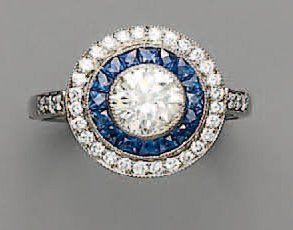 BAGUE diamant brillanté, saphirs calibrés...