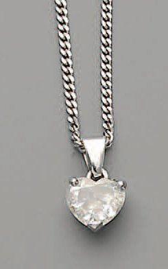 PENDENTIF, diamant coeur (1,10 ct) et platine,...