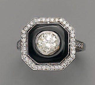 BAGUE diamant brillanté, en or, onyx et ...