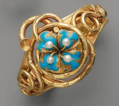 BRACELET XIXe, en or, perles et émail