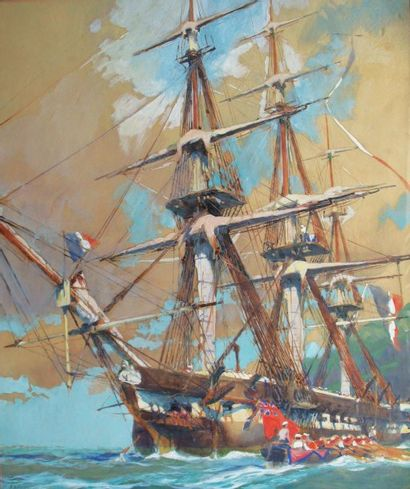 BRENET Albert (1903-2005) « Trois-mâts français approché par un canot anglais » Gouache...