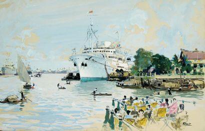 """BRENET Albert (1903 - 2005) « Le paquebot """"LA MARSEILLAISE """" dans le port de SAIGON..."""