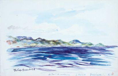 Philippe DAUCHEZ (1900 ? 1984), Peintre de la Marine « Detroit de Malacca » Aquarelle...