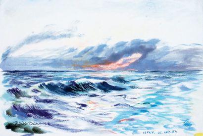 Philippe DAUCHEZ (1900 ? 1984), Peintre de la Marine « Océan Indien » Aquarelle signée...