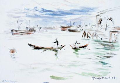 Philippe DAUCHEZ (1900 ? 1984), Peintre de la Marine « Port de Singapour » Aquarelle...