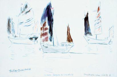 Philippe DAUCHEZ (1900 ? 1984), Peintre de la Marine « Etude de Jonques de Singapour...