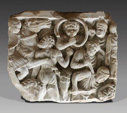 Plaque rectangulaire de sarcophage ornée...