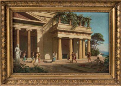 Emmanuel de COULANGE LAUTREC (Nîmes 1824 -? 1898) Le retour d'Ulysse Toile marouflée...