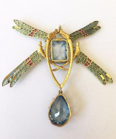 """RENE LALIQUE (1860-1945) """"Quatre libéllules"""" Rare pendentif en or jaune et émail..."""