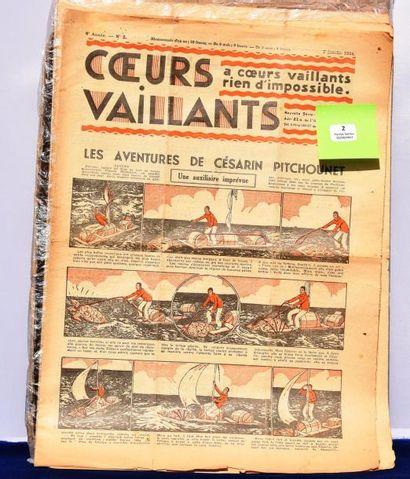 «Coeurs Vaillants» Année 1934. Lot des n°2...