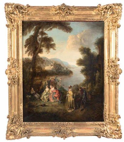 Ecole FRANCAISE, de la fin du XVIIIème siècle, dans le goût d'Antoine WATTEAU