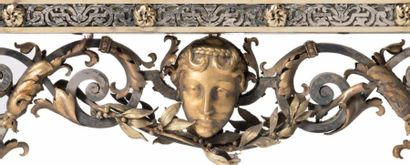 JULES PAUL BRATEAU (1844-1923) Rare miroir à poser toutes faces en argent partiellement...