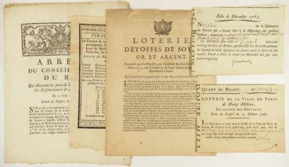 LOTERIES XVIIIème Siècle 5 documents. Ecole...