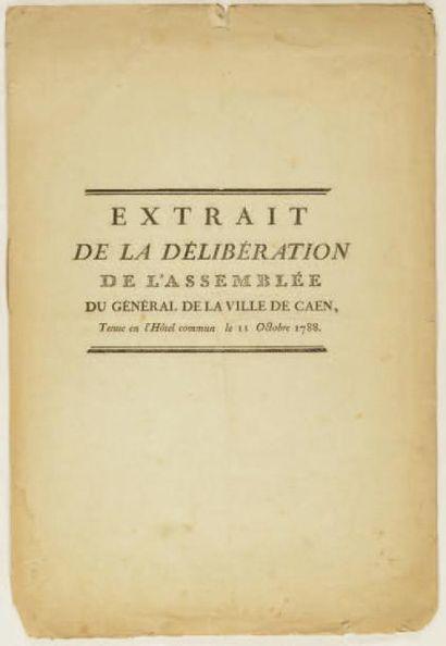 ASSEMBLEE DE LA VILLE DE CAEN 1788 Extrait...
