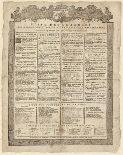 LE PARLEMENT DE BORDEAUX 1788 Liste des chambres...