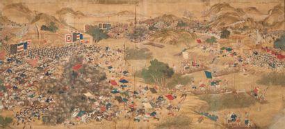 CHINE - Époque GUANGXU (1875 - 1908) La bataille entre l'armée impériale des Qing...