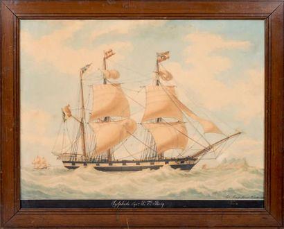 Antoine ROUX fils ainé (1765-1835) Vaisseau Sylphide vu de tribord Aquarelle gouachée,...