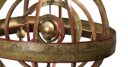 Ensemble de quatre sphères terrestre, céleste et armillaires signées Jean Baptiste...