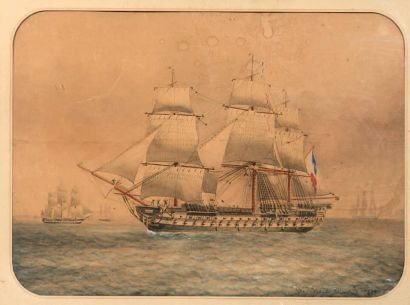 François ROUX (1847-1929) 3 Mâts vue bâbord Aquarelle et rehauts de gouache, signée...