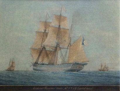 Antoine ROUX (1799-1872) Brick Aquarelle sur papier nommée dans un bandeau noir:...
