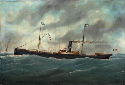 Edouard ADAM Le vapeur mixte Frédérique Morel Huile sur toile, signée en bas droite,...