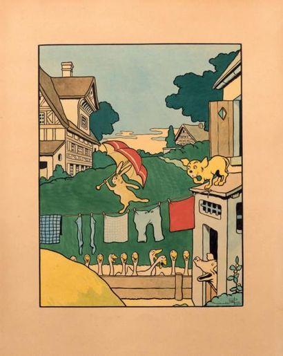 «Le Lapin funambule». Gouache sur papier...