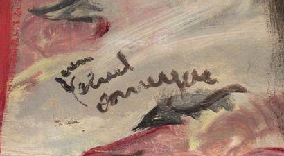 Jean-Gabriel DOMERGUE (1889-1962) Dans la loge, circa 1945-1950 Huile sur toile Signée...