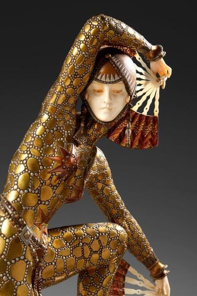 Demeter CHIPARUS (1886-1947) *Danseuse aux éventails Exceptionnelle sculpture chryséléphantine...