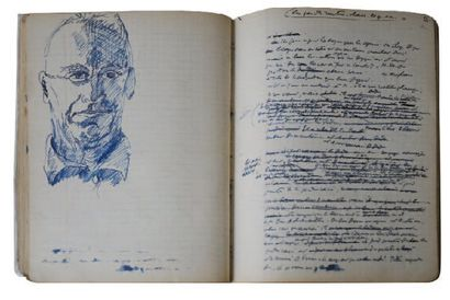JACQUES PERRET 1° Manuscrits et autographes LES BIFFINS DE GONESSE, cahier d'écolier...