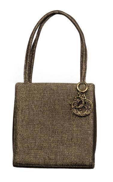 DIOR «Lady Dior» rectangulaire en toile mordorée, petit sac porté main avec petite...