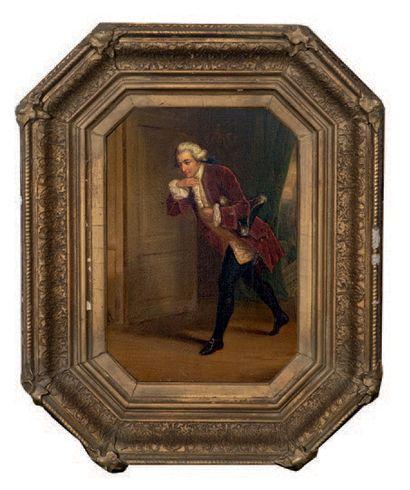 Henri Jozef DILLENS (1812-1872) Couple de courtisans Paire d'huiles sur panneau,...